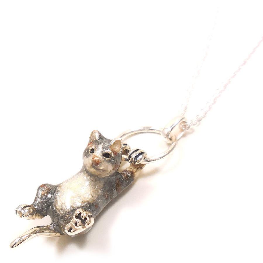 ネックレス ペンダント シルバー925 ぶら下がり猫 サバトラ ネコ レディース プレゼント ギフト entiere 03