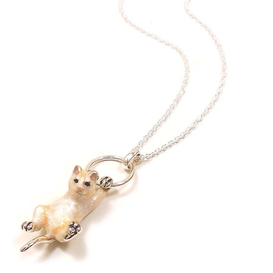 ネックレス ペンダント シルバー925 ぶら下がり猫 白猫 ネコ レディース プレゼント ギフト entiere 02