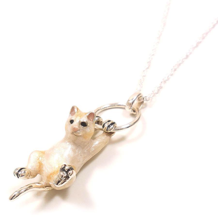 ネックレス ペンダント シルバー925 ぶら下がり猫 白猫 ネコ レディース プレゼント ギフト entiere 03