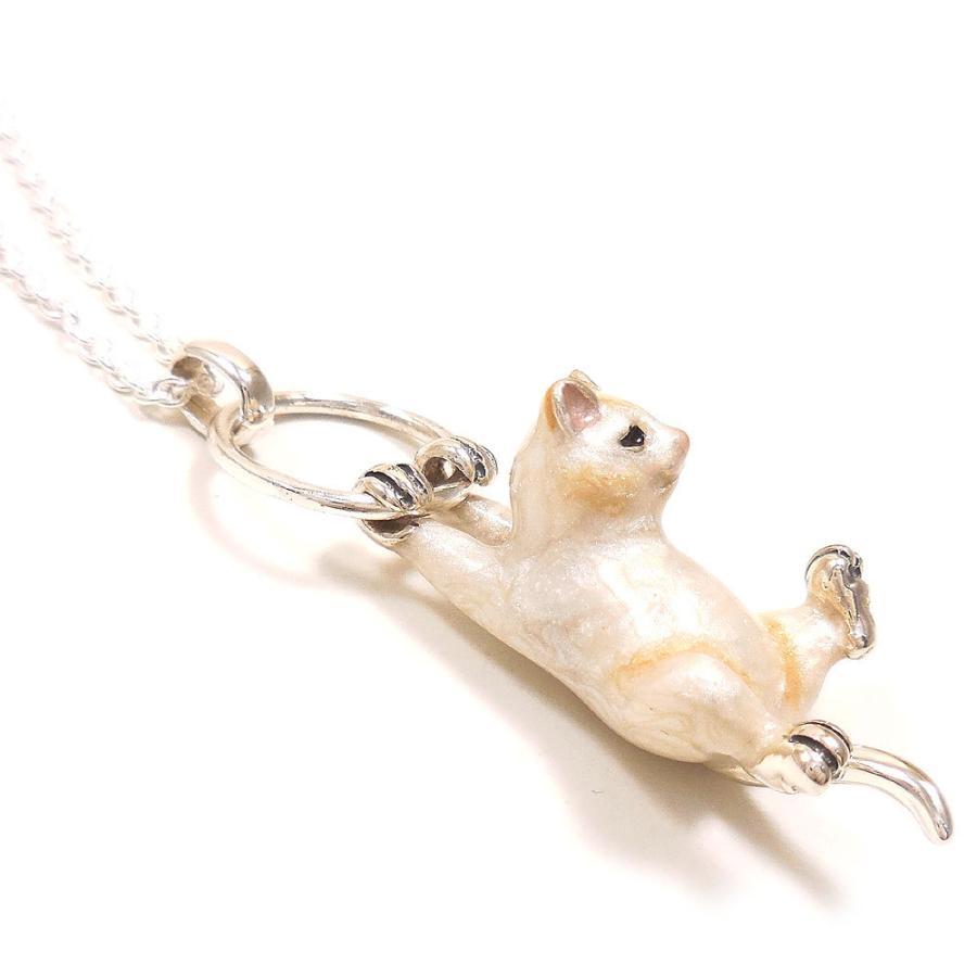 ネックレス ペンダント シルバー925 ぶら下がり猫 白猫 ネコ レディース プレゼント ギフト entiere 04