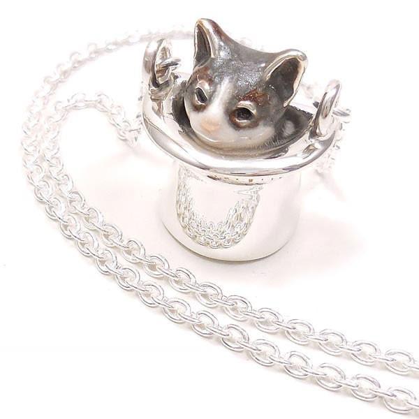 ネックレス ペンダント シルバー925 帽子 猫 はちわれ 灰 61cm レディース プレゼント ギフト|entiere
