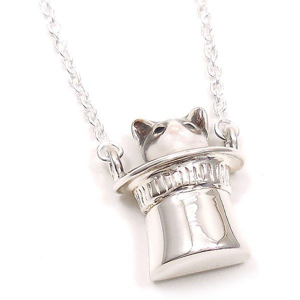 ネックレス ペンダント シルバー925 帽子 猫 はちわれ 灰 61cm レディース プレゼント ギフト|entiere|02