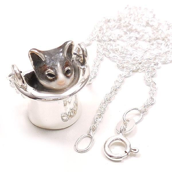 ネックレス ペンダント シルバー925 帽子 猫 はちわれ 灰 61cm レディース プレゼント ギフト|entiere|05