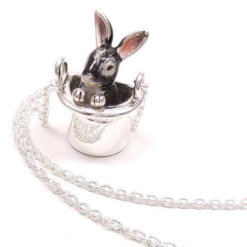ネックレス ペンダント シルバー925 帽子 ウサギ グレー レディース プレゼント ギフト|entiere