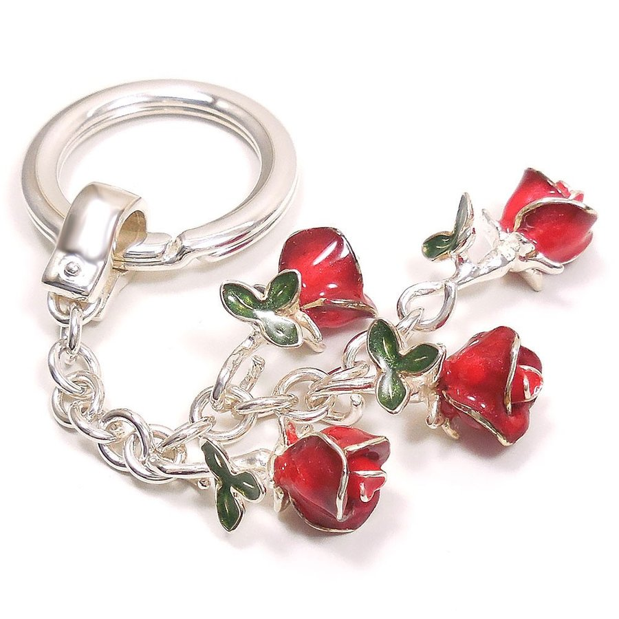 キーリング キーホルダー シルバー925 薔薇 バラ ダブルリング イタリア製 サツルノ レディース メンズ バレンタイン プレゼント ギフト entiere