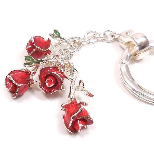 キーリング キーホルダー シルバー925 薔薇 バラ ダブルリング イタリア製 サツルノ レディース メンズ バレンタイン プレゼント ギフト entiere 03