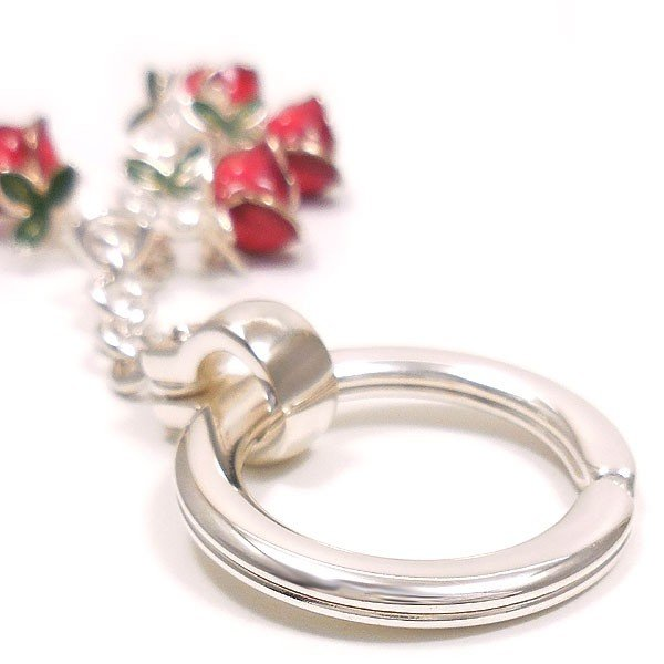 キーリング キーホルダー シルバー925 薔薇 バラ ダブルリング イタリア製 サツルノ レディース メンズ バレンタイン プレゼント ギフト entiere 05