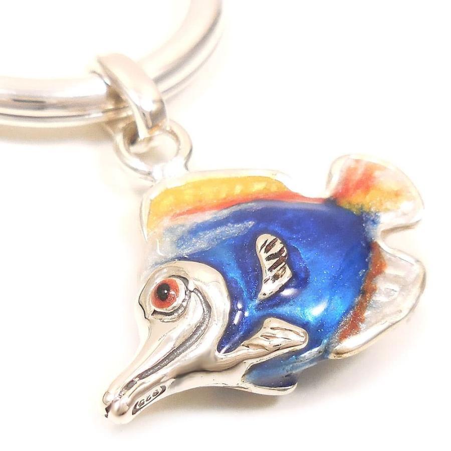 キーリング キーホルダー シルバー925 熱帯魚 ダブルリング エナメル彩色 イタリア製 サツルノ インポート 名入れ ご利益 刻印プレート(別料金)|entiere|02