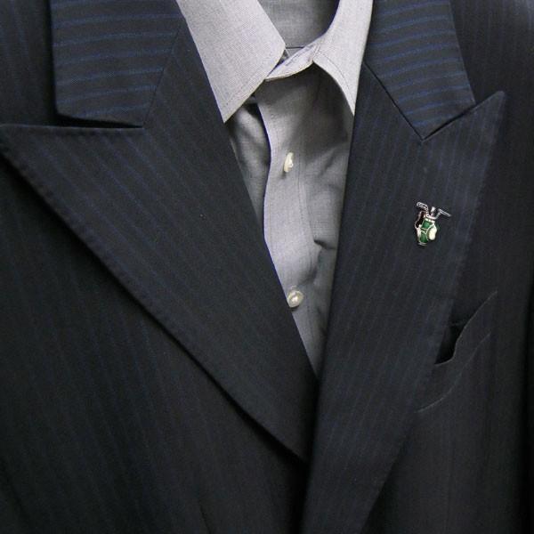 ピンブローチ ラペルピン シルバー925 ゴルフバッグ グリーン イタリア製 サツルノ メンズ レディース 父の日 プレゼント ギフト entiere 06