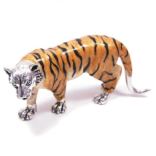 置き物 オブジェ シルバー925 虎 Mサイズ エナメル彩色 イタリア製 サツルノ|entiere