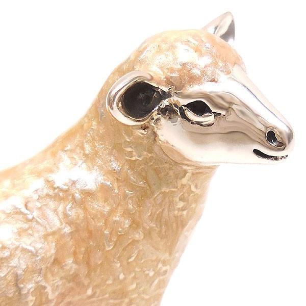置き物 オブジェ シルバー925 羊 ヒツジ 小 エナメル彩色 イタリア製 サツルノ entiere 02