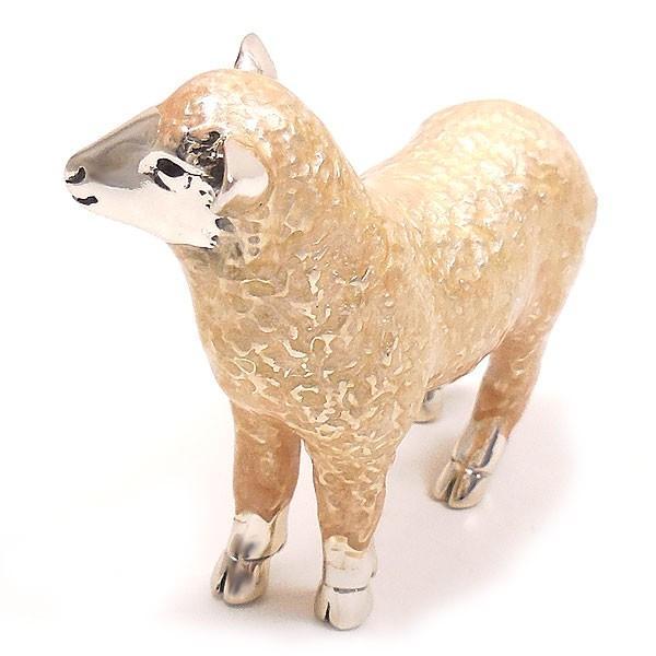 置き物 オブジェ シルバー925 羊 ヒツジ 小 エナメル彩色 イタリア製 サツルノ entiere 05