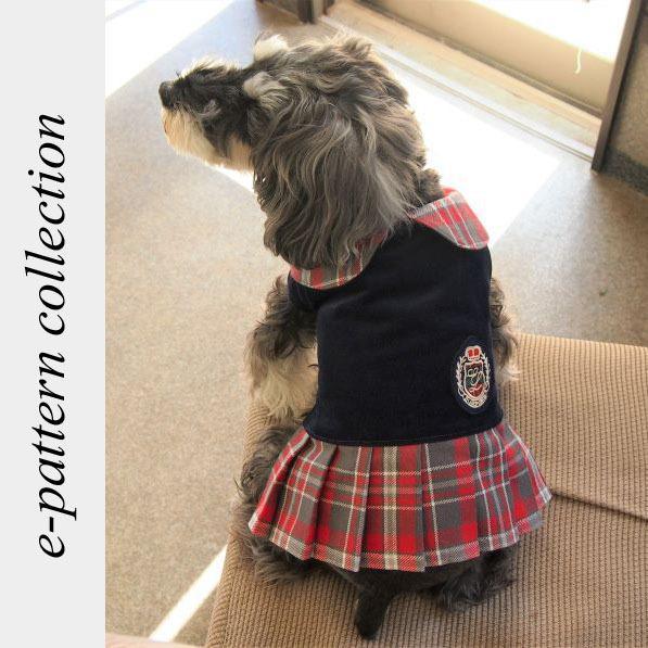 犬服型紙 プリーツワンピースコート 小型犬 小型犬ロング 中型犬用 テキスト付き|epatterncollection