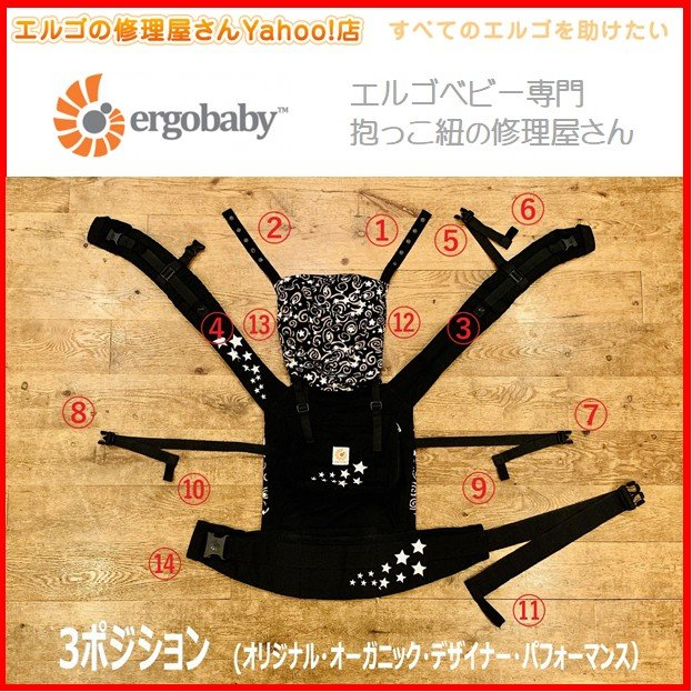 エルゴ 修理 3ポジション (12)右フードゴム抜け修理 ゴム 交換 だっこ紐 おんぶ紐 オリジナル デザイナー オーガニック パフォーマンス|ergo-no-syuuriyasan|02
