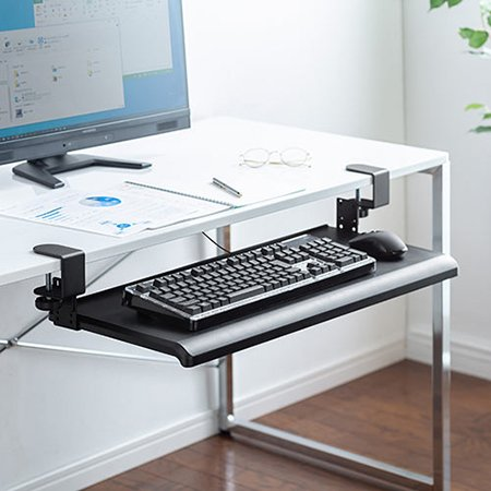 後付キーボードスライダー クランプ式 デスク設置 キーボード マウス収納対応 高さ変更可能 幅70cm|ergs|16