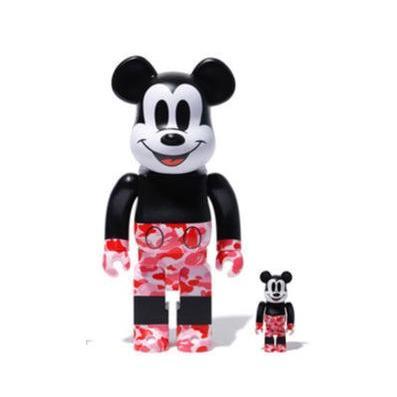 Medicom 400% + 100% Bearbrick A Bathing Ape Bape x Mickey Mouse ピンク/ミッキー エイプ ベイプ メディコムトイ