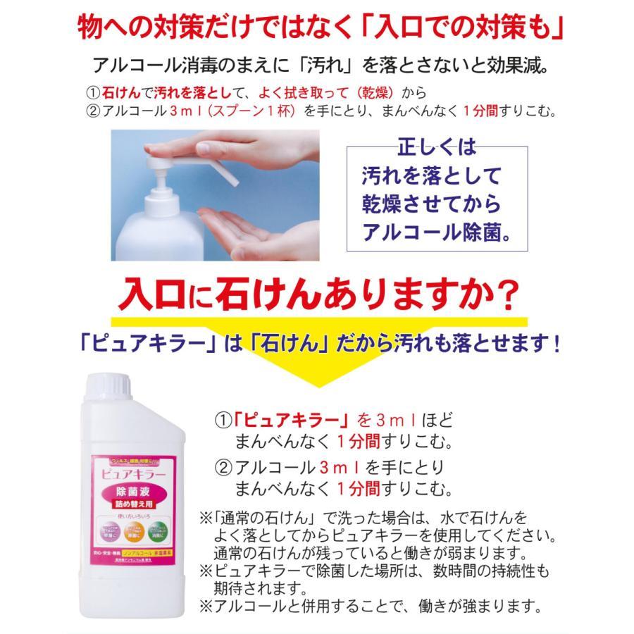 ノンアルコール 除菌液 非塩素系 第四級アンモニウム塩2種配合 除菌 消臭 ウイルス対策 ピュアキラー 卓上噴霧器セット|esndirect|09