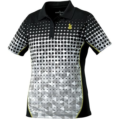 ゴーセン(GOSEN) レディース テニス ゲームシャツ ブラック T1715 39 テニスウェア バドミントンウェア ポロシャツ 半袖 トップス