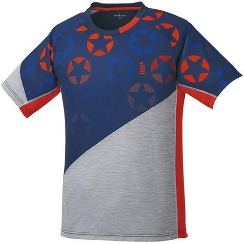 ゴーセン(GOSEN) テニス 星柄ゲームシャツ ネイビー T1814 17 テニスウェア バドミントンウェア Tシャツ 半袖 トップス メンズ レディース