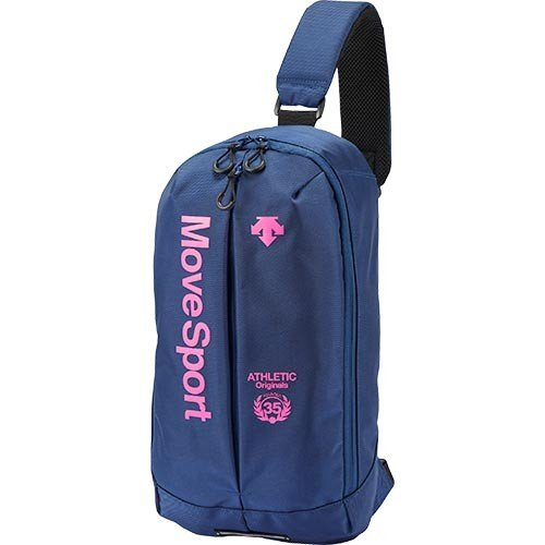デサント(DESCENTE) ボディーバッグL ネイビー×ピンク フリーサイズ DMANJA08 NV トレーニング スポーツバッグ ボディバッグ 斜め掛け