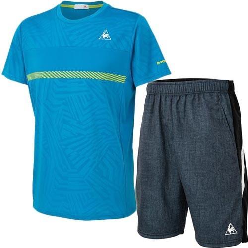 ルコック スポルティフ(le coq sportif) メンズ テニスウェア 上下セット 半袖シャツ & ゲームパンツ SWB/BLK QTMOJA15 SWB/QTMOJD02 BLK テニス
