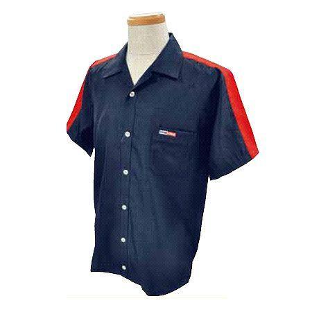 アメリカン ボウリング サービス(ABS) 肩配色切り替え オープン ネイビー/レッド A-511-3 Pro-ama ボウリングウェア メンズ レディース ボーリング