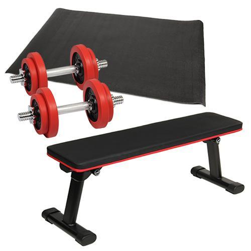 ダンベルトレーニング 4点セットC レッド 10kg 折りたたみフラットベンチ ラバーダンベル 10kg 2個セット 保護マット ウエイトトレーニング ホームジム