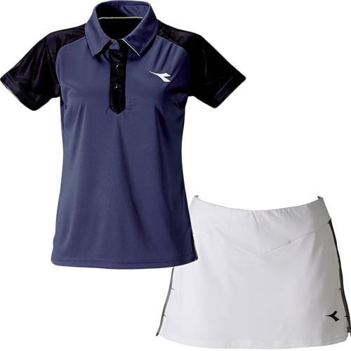 ディアドラ(diadora) レディース テニスウェア ゲームシャツ&スコート 上下セット ネイビー/ホワイト DTG9345 68/DTG9444 90 練習 半袖 スカート 部活