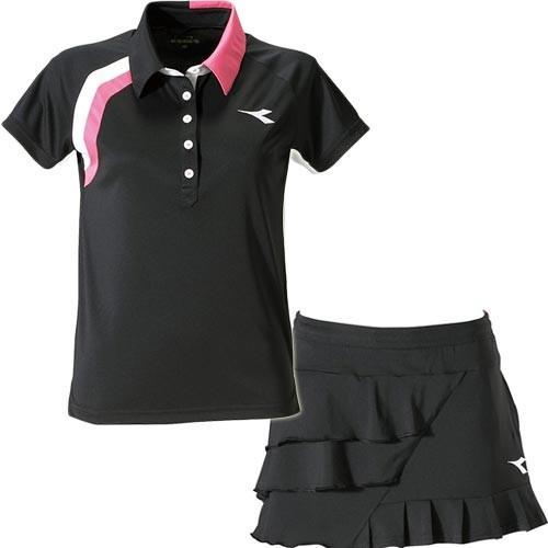 ディアドラ(diadora) ジュニア テニスウェア JR ゲームシャツ ブラック & JR スコート ブラック DTJ9396 99/DTJ9496 99 上下セット キッズ ポロシャツ 半袖