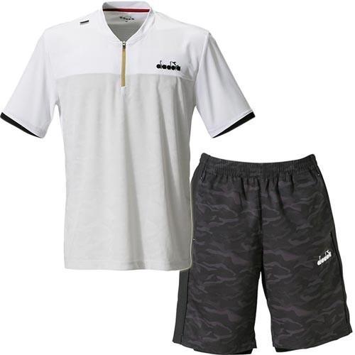 ディアドラ(diadora) メンズ テニスウェア ZIPトップ ホワイト & ウーブンショーツ ブラック.C DTP9584 90/DTP9483 99C 上下セット 半袖 Tシャツ 練習着