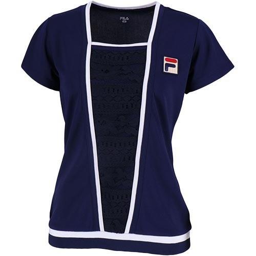 フィラ(FILA) レディース テニスウェア ゲームシャツ フィラネイビー VL1926 20 テニス ウェア 半袖 トップス 練習 試合 ゲームウェア