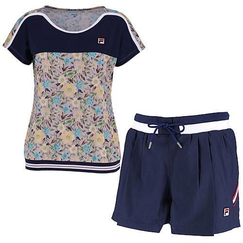 フィラ(FILA) レディース テニスウェア 上下セット ゲームシャツ & ショートパンツ ボンボンピンク/フィラネイビー VL1921 19/VL1912 20 テニス ウェア 半袖