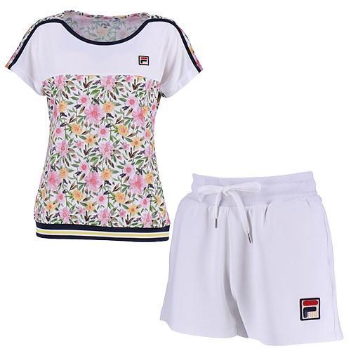 フィラ(FILA) レディース テニスウェア 上下セット ゲームシャツ & ショートパンツ ホワイト/ホワイト VL1921 01/VL1933 01 テニス ウェア 半袖 短パン 練習