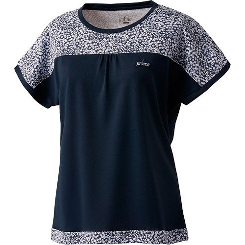 プリンス(Prince) レディース テニスウェア ゲームシャツ ネイビー WL9080 127 テニス ゲームウェア Tシャツ トップス 半袖 部活 練習