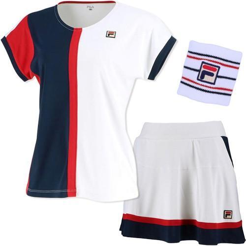 フィラ(FILA) レディース テニス 上下セット ゲームシャツ & スコート ホワイト VL2041 01/VL2042 01 トップス 半袖 ボトムス スカート