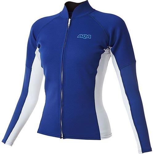 エーキューエー(AQA) レディース UV ウェットトップ ジップ2 ロング リフレックスブルー×ホワイト KW-4617 18 ウェットスーツ 長袖 トップス ジップアップ