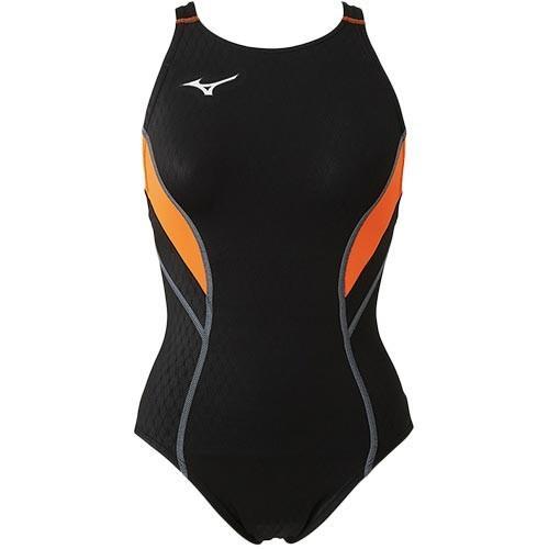 ミズノ(MIZUNO) レディース 競泳水着 ストリームアクティバ ローカット(オープン) ブラック×オレンジ N2MA8240 95 FINA承認 女性用競泳水着 競技用