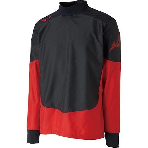 ミズノ(MIZUNO) メンズ レディース サッカー ピステシャツ ブラック×チャイニーズレッド P2ME9525 96 トップス 長袖シャツ 防寒 トレーニングウェア 練習