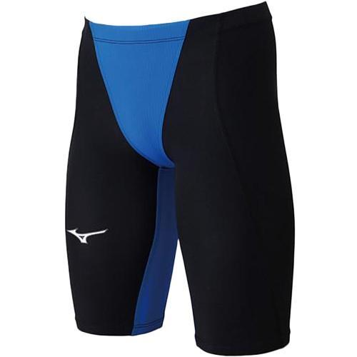 ミズノ(MIZUNO) メンズ 競泳水着 MX-SONIC02 ハーフスパッツ ブラック×ブルー N2MB8011 50 FINA承認 男性用競泳水着 競技用 スイムウェア