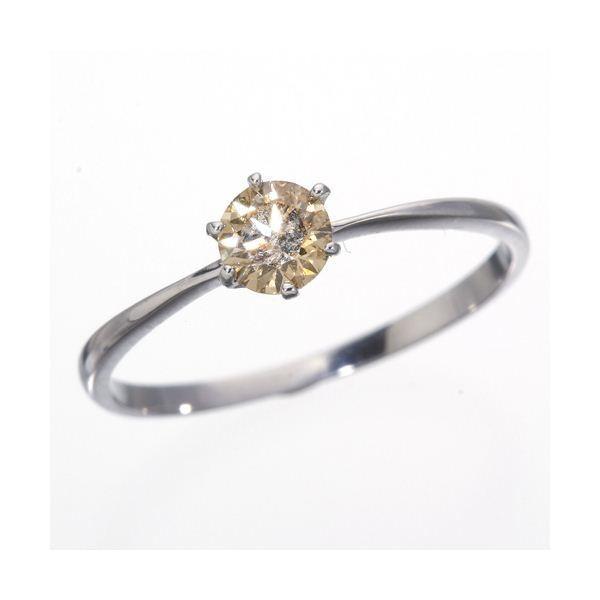 【新品】 K18WG (ホワイトゴールド)0.25ctライトブラウンダイヤリング 指輪 183828 17号, 最上郡 a2719853