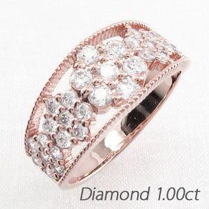 良質  ダイヤモンド リング 指輪 ゴールド 18k フラワー アンティーク ミル 18金 K18 PG 1.00ct, URCHIN(アーチン) 16f4853d