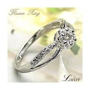 【激安大特価!】 ダイヤモンドリング 花フラワー 天然ダイヤモンド K18ホワイトゴールド 18金 指輪, MODEL(インテリア雑貨) 2ae3e939
