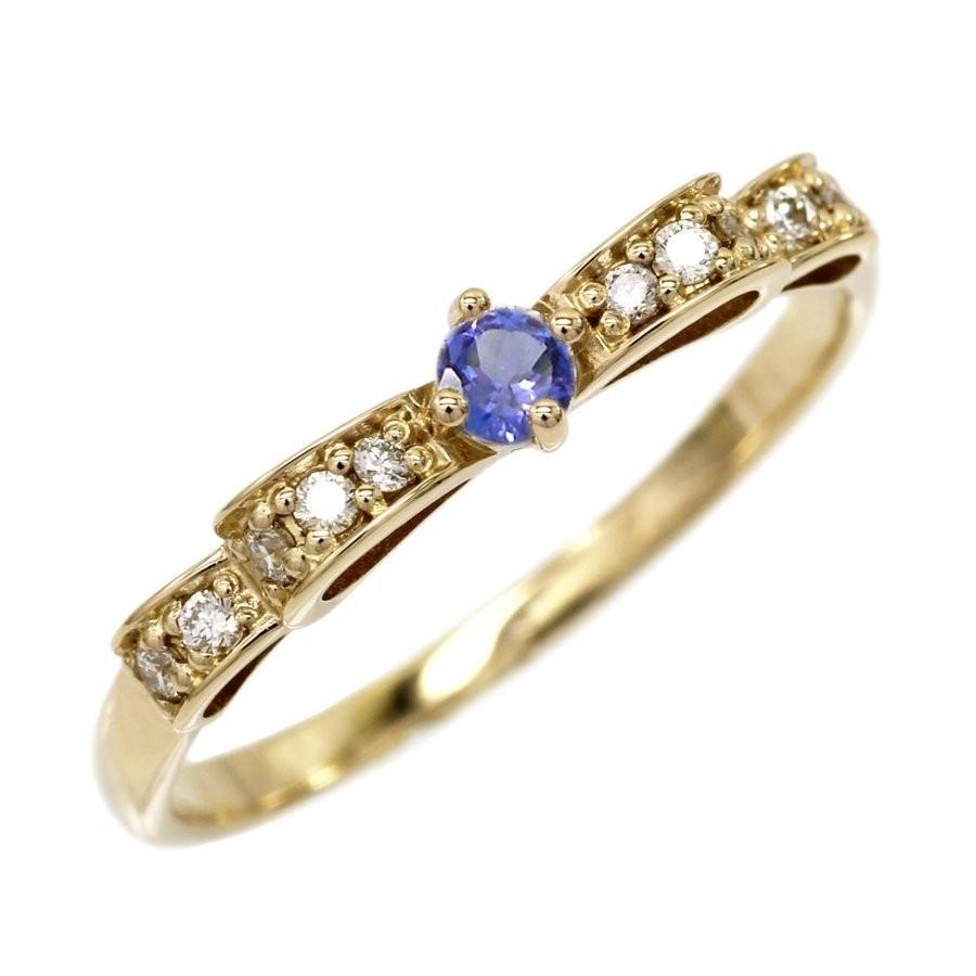 本物品質の タンザナイト りぼんリング ダイヤモンド パワーストーン K18イエローゴールド 18金 指輪, LipCrown fd9e4cbc