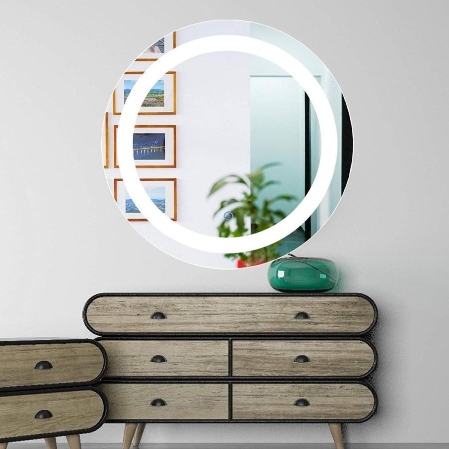 Ksmsem LED ミラー 鏡 壁掛け 壁掛け鏡 壁掛け鏡 女優ミラー 化粧鏡 浴室鏡 円形 壁掛け 風呂鏡 防曇鏡 高品質 明るさ調節可能タッチボ