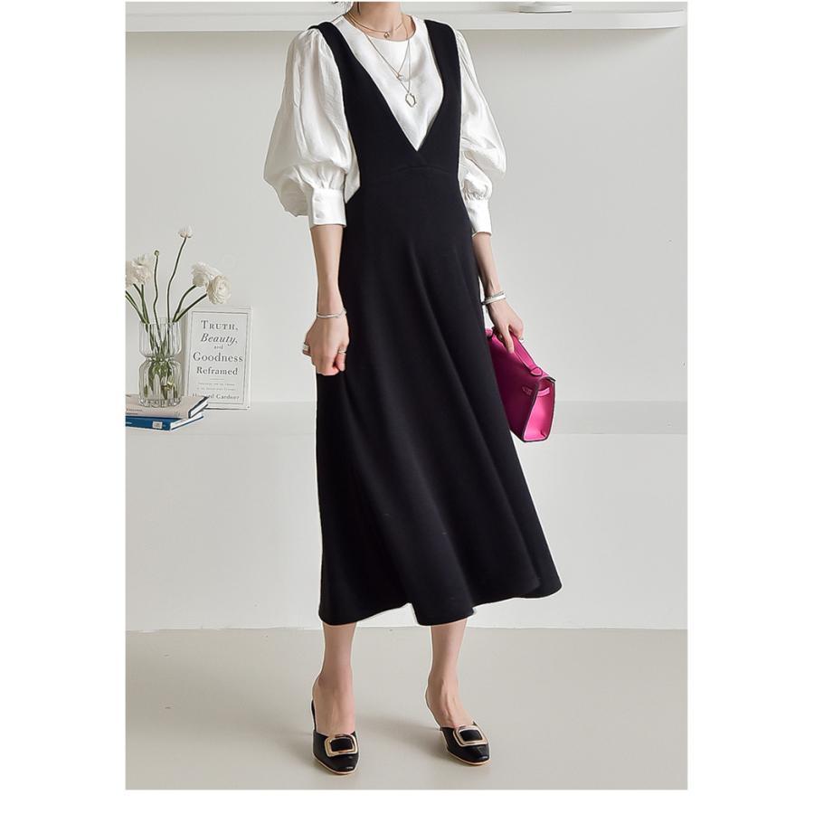 マタニティ 服 ワンピース 秋 安い Vネック オフィス 事務 ジャンパースカート ロング 大きいサイズ 妊婦服 メール便可/SDM63005|ette|02