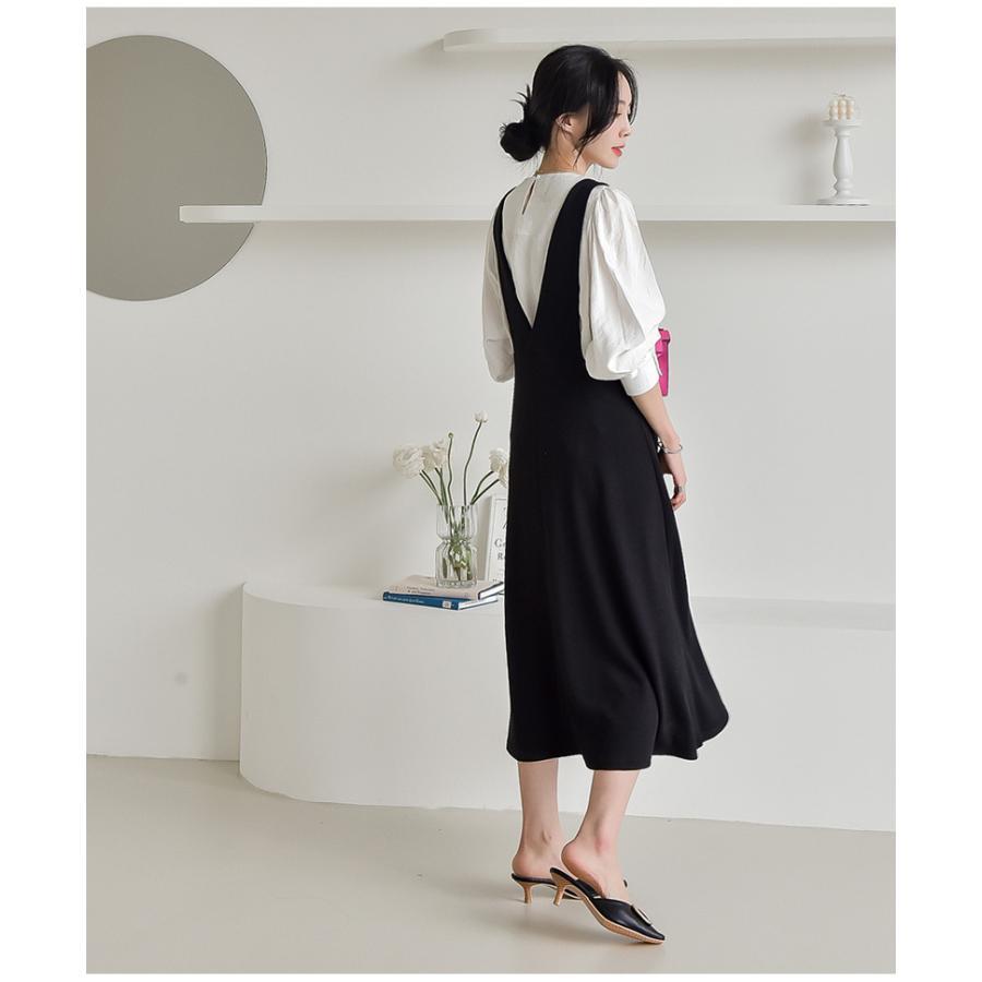 マタニティ 服 ワンピース 秋 安い Vネック オフィス 事務 ジャンパースカート ロング 大きいサイズ 妊婦服 メール便可/SDM63005|ette|04