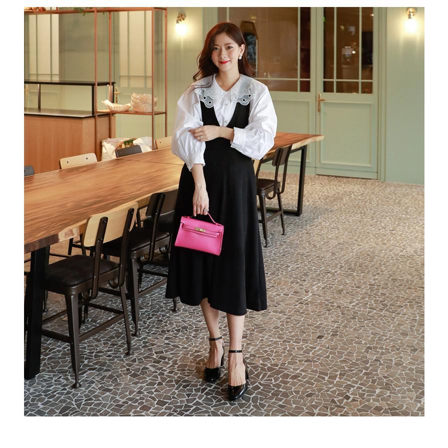 マタニティ 服 ワンピース 秋 安い Vネック オフィス 事務 ジャンパースカート ロング 大きいサイズ 妊婦服 メール便可/SDM63005|ette|07