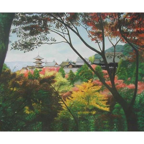 油絵 秋の清水寺遠景