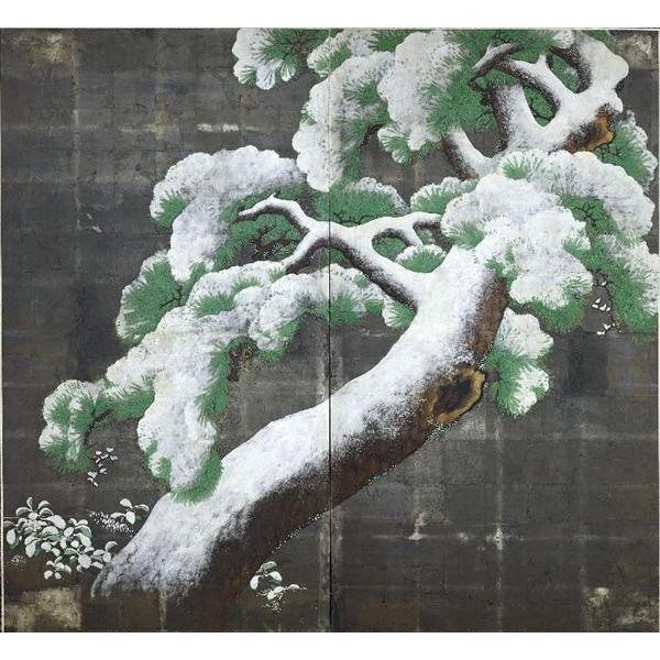 漆絵 雪に覆われた松とミヤマシキミ図