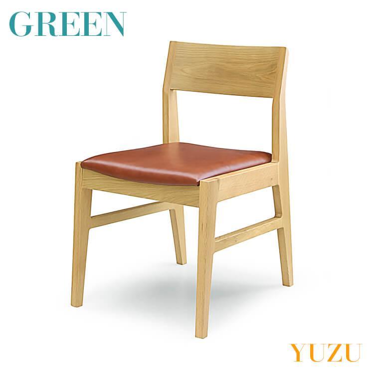 ユズ 緑 YUZU サイドチェア F オーク Y-008 Y-008 リビング ダイニング イス 椅子 グリーン 送料無料